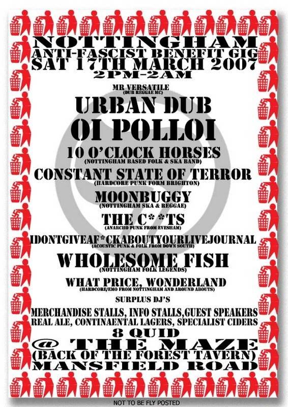 Anti-Fascist Benefit Gig - Nottingham, 17th March, 2pm-2am